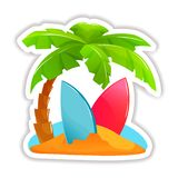Beach with luggage, accessories, palm trees, surfboard on the waves. Summer tropical sticker, label, logotype, badge on the topic travel, vacation. Beach with stock illustration