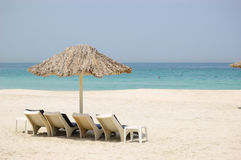 Beach at luxurious hotel. Dubai, United Arab Emirates Royalty Free Stock Image