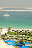 Beach at luxurious hotel. Dubai, United Arab Emirates Stock Images