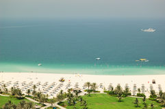 Beach at luxurious hotel. Dubai, United Arab Emirates Royalty Free Stock Images