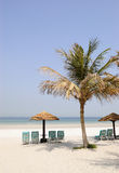 Beach at luxurious hotel, Dubai, UAE. Beach at luxurious hotel, Dubai, United Arab Emirates Stock Images