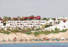 Beach of luxurious hotel, Sharm el Sheikh, Egypt. Beach of popular luxurious hotel, Sharm el Sheikh, Egypt Royalty Free Stock Photo