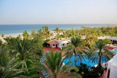 The beach at luxury hotel. Ajman, UAE stock photography