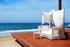 The beach at luxury hotel Stock Photography
