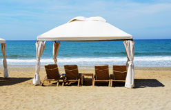The beach at luxury hotel Stock Images