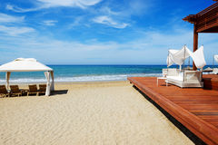 The beach at luxury hotel Stock Image