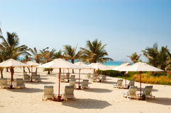 Beach of the luxury hotel, Dubai, UAE Stock Photos