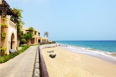 The beach at luxury hotel Royalty Free Stock Photos