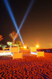Beach of luxury hotel in night illumination on Palm Jumeirah Royalty Free Stock Photos