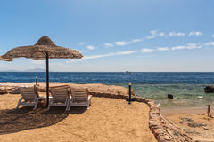 Beach at the luxury hotel, Sharm el Sheikh, Egypt Stock Photography