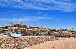 Beach at the luxury hotel, Sharm el Sheikh, Egypt Royalty Free Stock Images