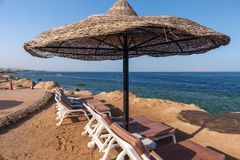 Beach at the luxury hotel, Sharm el Sheikh, Egypt Royalty Free Stock Photo