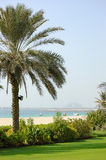 Beach of luxury hotel with a view on Palm Jumeirah Royalty Free Stock Photos