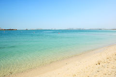 Beach of the luxury hotel with a view on Palm Jumeirah Stock Photos