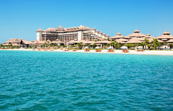 Beach of the luxury Thai style hotel on Palm Jumeirah Stock Images