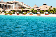 Beach of luxury Thai style hotel on Palm Jumeirah Stock Photos