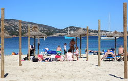 Beach of Magaluf. View of the beach of Magaluf, Balearic Islands, Mallorca, Spain in April. The photo was taken on 9th of April, 2016 in Magaluf beach, Mallorca Royalty Free Stock Photo