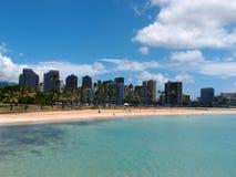 Beach on Magic Island in Ala Moana Beach Park. On the island of Oahu, Hawaii.  On a beautiful day Royalty Free Stock Photography