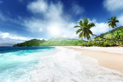 Beach at Mahe island Stock Photography