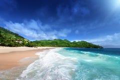 Beach at Mahe island, Seychelles Stock Photo