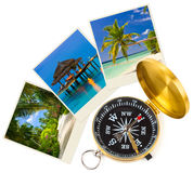 Beach maldives images and compass Royalty Free Stock Photos