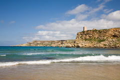Beach, Malta. The beach of Ghajn Tuffieha Bay in Malta Stock Image