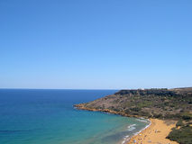 Beach in Malta. Sandy beach in maltese island Gozo, view from hill Royalty Free Stock Images
