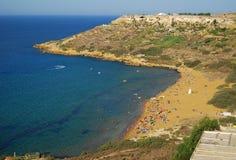 Beach in Malta. Sandy beach in Gozo (Malta) view from  Calypso's Cave Stock Photography