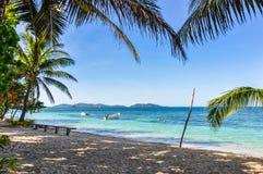 On the beach in Mana Island, Fiji Royalty Free Stock Photo