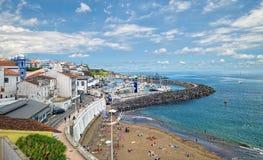 Beach and marina in Angra do Heroismo, Terceira island, Azores