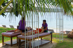 Beach massage Stock Photos