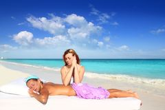 Beach massage meditation shiatsu elbows pressure Stock Photos