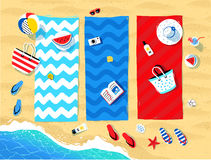 Beach mats and seaside accessories Stock Image