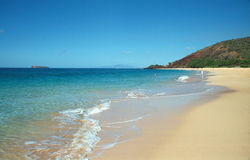 Beach in Maui, Hawaii. Immaculate sand beach in south-west Maui Stock Photography
