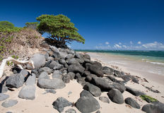 Beach on Maui, Hawaii. Black lava rocks on a beach, Maui, Hawaii Stock Photos