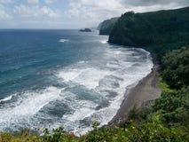 Beach in Maui Hawaii. Beach  with lush green plants. Palm tree. Heavy surf. Maui Hawaii Stock Photos