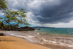 The beach in Maui, Hawaii. A view of a beach along the coast of Maui Stock Photo