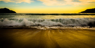 Beach at Mazatlan, Mexico. Waves approaching at Mazatlan beach, Mexico Royalty Free Stock Photography