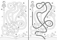Beach maze. For kids with a solution in black and white Stock Photos