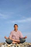 Beach meditation. Man on the beach meditation Stock Photography