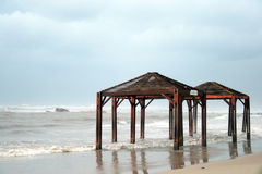 Beach of Mediterranean sea. In Bat Yam after a storm Royalty Free Stock Images