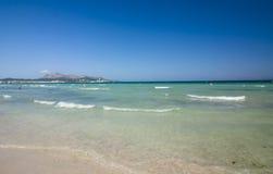 Beach of Mediterranean sea, Alcudia, Majorca, Spain. Stock Images