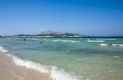 Beach of Mediterranean sea, Alcudia, Majorca, Spain 26.06.2017. Stock Photos