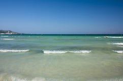 Beach of Mediterranean sea, Alcudia, Majorca, Spain. Stock Image