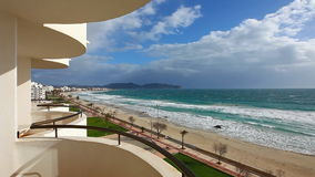 Beach of Mediterranean Sea at Cala Millor stock video