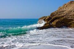 Beach on Mediterranean sea coast in Nerja. Spain Royalty Free Stock Photo