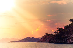 Beach at Mediterranean sea. Fethiye, Turkey Stock Photography