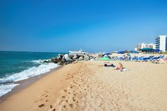 Beach at the Mediterranean Sea in Malgrat de Mar, Spain. Royalty Free Stock Photography