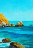 Beach on the mediterranean sea, painting, illustration Royalty Free Stock Photos