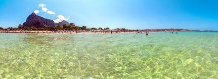 Beach and Mediterranean sea in San Vito Lo Capo, Sicily, Italy Stock Photos